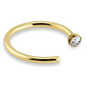 viva-adorno 0,8mm Nasenring Nasenpiercing Piercing Hoop Ring Chirurgenstahl 316L Kristall in verschiedenen Farben Z505,gold