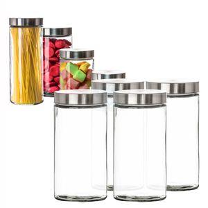 Vorratsgläser 4x 1,7 Liter Glas Schraubglas Lebensmittelglas Edelstahldeckel mit Schraubverschluss