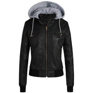 Frauen Slim Lederjacke Abnehmbare Reißverschlusskappen Kapuze Warme kurze Mäntel Outwear Größe:XXXL,Farbe:Schwarz