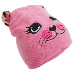 Mädchen Winter Strick Mütze mit Tier Motiv HA462 (Einheitsgröße) (Pink)