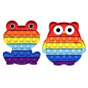 Regenbogeneule und Froschform Push Pop It Pop Bubble Spielzeug,Verwendet für Autismus, Stress Abzubauen Braucht zappeln Spielzeug