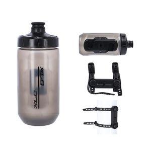 XLC Fidlock Trinkflasche WB-K07 450ml mit Fidlock uni base Adapter, schwarz/rauch (1 Set)