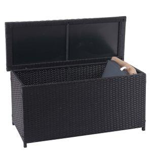 Poly-Rattan Kissenbox MCW-D88, Gartentruhe Auflagenbox Truhe  Basic schwarz, 63x135x52cm 320l