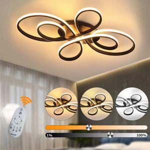 LED Deckenlampe dimmbar Deckenleuchte Fernbedienung Aluoptik 74W Wohnzimmer Farbe : Schwarz
