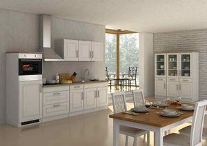 Küchenblock Rom 290 cm im Landhaus Stil weiß matt ohne Elektrogeräte