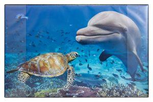 """Schreibtischunterlage / Größe: 68x44cm / """"Delfin und Schildkröte """""""