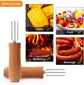 10 Stück Edelstahl Maishalter, Maiskolbenhalter mit langem Eichenholzgriff für Kinder und Erwachsene Hausmannskost und BBQ and
