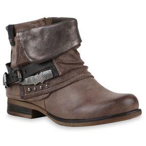 Mytrendshoe Gefütterte Damen Biker Boots Nieten Schnallen Stiefeletten 812207, Farbe: Khaki, Größe: 37
