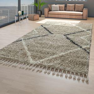 Teppich Beige Hochflor Wohnzimmer Weich Flauschig Skandi Optik Rauten Design, Größe:160x220 cm