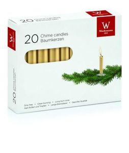 Baumkerzen gelackt Gold, 96 x 13 mm, 20 Stück, Wiedemann Kerzen, Qualitätskerzen, rußarm, tropffrei
