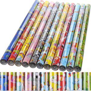 4er Set (4 Rollen) Geschenkpapier Kinder je 200x70cm