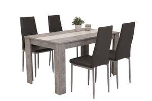 5 tlg. Essgruppe Helene I - Tisch betonoptik mit Wendeeinlage weiß/schwarz - Vierfußstuhl Kunstleder Grau/Alufarben