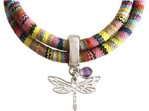Damen Armband Wickelarmband 925 Silber Libelle AZTEC Amethyst Rose Violett