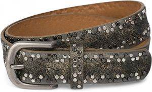 styleBREAKER Nietengürtel mit verschiedenfarbigen kleinen Nieten, Gürtel, kürzbar, Unisex 03010071, Farbe:Schwarz, Größe:90cm