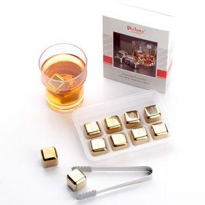 Premium Edelstahl Eiswürfel 8er Set Whisky Steine Kühlsteine Cocktail Bar Drink 1x 8er-Set Gold