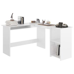 vidaXL Eckschreibtisch L-Form Hochglanz-Weiß 120×140×75 cm Spanplatte