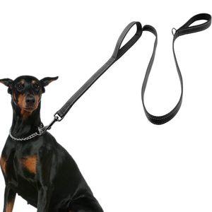 AVANA reflektierende Hundeleine mit integriertem Kurzführer | 2 handschonende gepolsterte Handschlaufen | 1,5 Meter Lange Reflektor Nylon Führleine für große und mittelgroße Hunde - Schwarz
