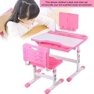 Kinderschreibtisch Ergonomisch Schülerschreibtisch Zeichentisch Höhenverstellbar mit LED Lampe & Stuhl Rosa
