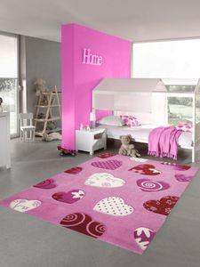 Kinderteppich Herzen Kinderzimmerteppich Mädchen in rosa creme rot Größe - 160 cm Rund
