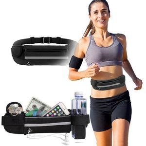 Bauchtasche Sport ,Laufgürtel mit reflektierende ultraleichte, wasserdichte Sport Hüfttasche für joggen(schwarz)