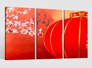 Leinwandbild 3 tlg  Kirsche rot Baum Blumen Lampe China japanisch Garten  Bilder Leinwand Wohnzimmer Leinwandbilder fertig gerahmt 9CB364, 3 tlg BxH:90x60cm (3Stk  30x 60cm)