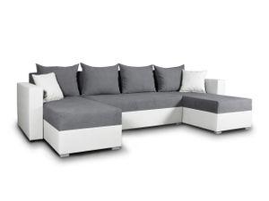 Wohnlandschaft mit Schlaffunktion Beno - U-Form Couch, Ecksofa mit Bettkasten, Couchgranitur mit Bettfunktion, Polsterecke (Weiß + Dunkelgrau (Cayenne 1111 + Enjoy 23))
