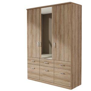 Kleiderschrank Dilan grau 3 Türen B 136 cm eiche sanremo hell Schrank Drehtürenschrank Wäscheschrank Spiegelschrank Kinder- und Jugendzimmer Jugendzimmer