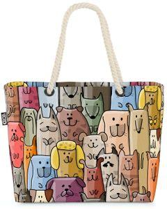 VOID Cartoon Hunde Strandtasche Shopper 58x38x16cm 23L XXL Einkaufstasche Tasche Reisetasche Beach Bag
