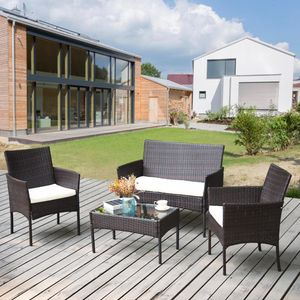 Gartenmöbel Set Rattan Balkonmöbel Sitzgruppe Langlebig Lounge Set Mit Bank, Sessel & Tisch und Sitzkissen für 4 Personen