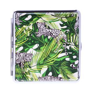 ZIGARETTENETUI Leder 20 Zigaretten Tiger Leopard Etui Zigarettenbox Box Case 28(Leopard und Tiger)
