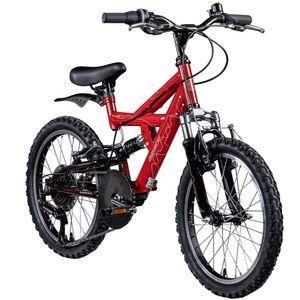 Galano FS180 20 Zoll Mountainbike Full Suspension Kinderfahrrad Fully MTB Kinder ab 6 Jahre Fahrrad, Farbe:rot, Rahmengröße:31 cm