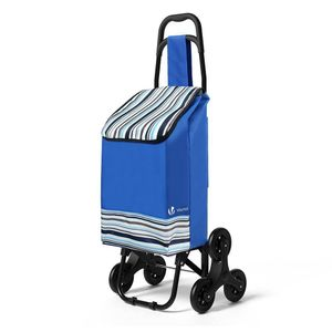 VOUNOT Einkaufstrolley Klappbar mit 6 Räder, Treppensteiger 32L, Blau