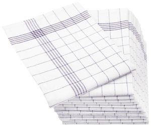 12er-Set Geschirrtücher Halbleinen, 50x70 cm, grau-weiß-kariert