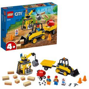 LEGO 60252 City Bagger auf der Baustelle Spielzeug mit Starter-Steinen und Kran, für Vorschulkinder ab 4 Jahren