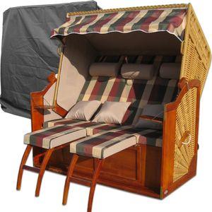 3-Sitzer Strandkorb ✔ rot grün ✔ Schutzhülle ✔ 2x komplette Bezüge ✔ XXL Strandkorb