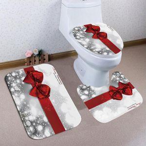 3pc/set  Weihnachten Badteppich Badgarnitur Vorleger Matte Badezimmer Dekoration DE