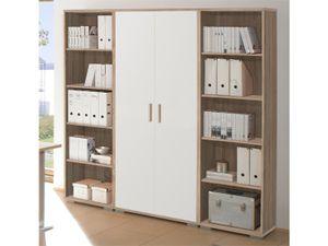 """Regalwand Aktenschrank Büroschrank Schrankwand Büromöbel Regal """"Clermont I"""" Sonoma-Eiche/Weiß"""