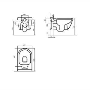 Alpenberger Spülrandloses Wand-WC inkl. Quick-Release WC-Deckel mit Absenkautomatik und Befestigungselemente | passend zu GEBERIT
