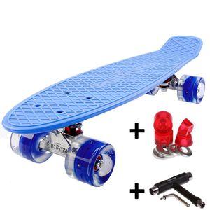 Farbe Blau  - FunTomia® Mini-Board mit LED Rollen inkl. T-Tool  2104F