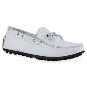 Mytrendshoe Herren Slippers Mokassins Schleifen Ösen Profil-Sohle Schuhe 836201, Farbe: Weiß, Größe: 41