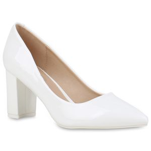 Mytrendshoe Damen Spitze Pumps Blockabsatz High Heels Elegante Abendschuhe 832345, Farbe: Weiß, Größe: 38