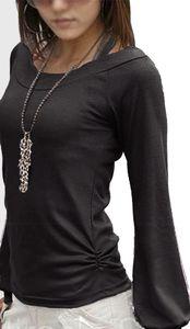 Fado Damen Langarm Shirt Oberteil Longshirt, U-Boot Ausschnitt, Schwarz S