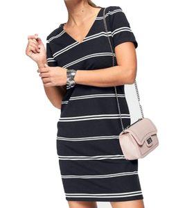 soyaconcept DenaStripe69 Kurzarmkleid tailliertes Damen Maschenkleid Streifen Blau, Größe:XS