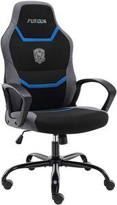 Furious Gaming Stuhl Bürostuhl Ergonomischer Drehstuhl Schreibtischstuhl Computerstuhl mit Eingebauter Lendenstütze und Drehbaren Lenkrollen Chefsessel aus Atmungsaktivem Netzstoff Blau