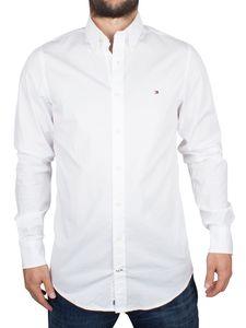 Tommy Hilfiger Herren Slim Fit Stretch Popeline-Logo-Hemd, Weiß Medium