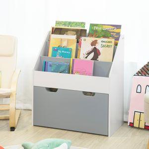 SoBuy KMB17-HG Kinder Bücherregal Kinderregal mit 3 Ablagefächern und Einer herausnehmbaren Spielzeugtruhe Aufbewahrungsregal für Kinder Weiß/Grau