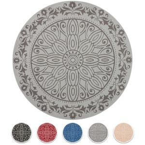 Teppich Boss Design Kurzflor Teppich Mandalay Kreise rund, Größe:140 cm, Farbe:hellgrau/grau