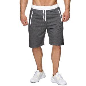 Männer Sport Casual Bodybuilding Reine Reißverschlusstasche Flexible Taille Kurze Hose Größe:XL,Farbe:Dunkelgrau