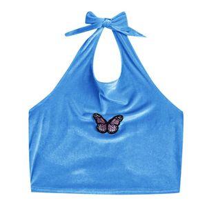 Sexy Schmetterlingsdruck für Frauen Schnürhalfter Crop Top Backless Summer Top Größe:XXL,Farbe:Blau