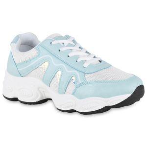 Mytrendshoe Damen Chunky Sneaker Plateau Turnschuhe Glitzer Plateauschuhe 826151, Farbe: Hellblau, Größe: 38